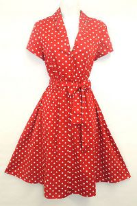 New Red Polka Dot WWII 1940's Vintage style classic Shirt Swing Tea Dress.